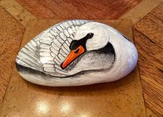 Swan hand painted on rock stone cobble