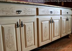 Stencil Embossing - (apply plaster through a single layer stencil) to create a carved effect on cabinet doors or drawers. (via hometalk.com)