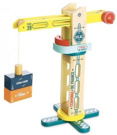 Rotary Docker Crane equipped with a crank and a magnetic tip to move containers easily. This Wooden Docker Crane is part of the Vilacity range. 28 x 34 x 18 cm. Toy Crane, Wooden Toy Barn, Wooden Toys, Moving Containers, Bookshelf Room Divider, Stacking Toys, Teddy Toys, Pink Elephant, Gifts