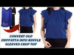DIY: Convert Old Duppatta Into ruffle sleeve crop top in 2 Minutes Baby Girl Dress Patterns, Dress Sewing Patterns, Crop Top Designs, Blouse Designs, Sleeve Designs, Sewing Shirts, Sewing Clothes, Diy Clothes Tops, Blouse Tutorial