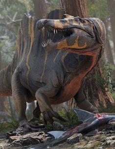 HH Spinosaurus and Prey   3D Dinosaur #DazStudio #3dmodel