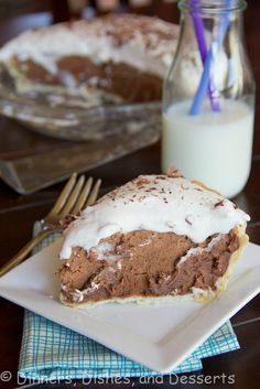 French Silk Pie - rich and creamy chocolate  pie.  Easy, and no baking!  My all time favorite pie!