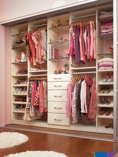 well-organized reach in closet; we will just ignore the fact the almost everything in that closet is pink