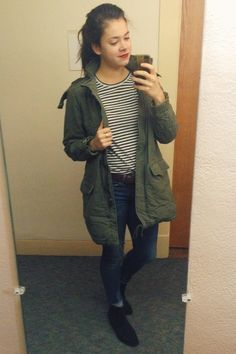 jeans, stripes & an army coat