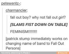 Image result for is patrick stump a feminist