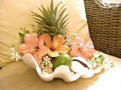 Create a tropical mood with this pretty Hibiscus, shells & mini pineapple centerpiece! Tropical Party, Tropical Style, Tropical Decor, Tropical Flowers, Coastal Decor, Tropical Furniture, Coastal Living, Deco Floral, Arte Floral