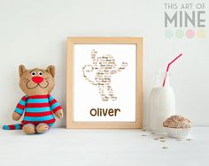 Our personalised monkey name print is the perfect wall art for a jungle themed nursery. Available in a large range of colours to suit any decor.
