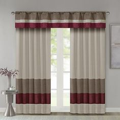 Red And Grey Curtains, White Kitchen Curtains, Burgundy Curtains, Window Curtains, Colours That Go With Grey, Blinds For Sale, Sheer Valances