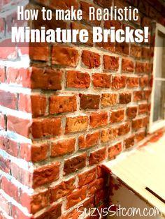 Miniature Crafts: How to Make Realistic Miniature Bricks Dollhouse Miniature Tutorials, Miniature Crafts, Miniature Houses, Diy Dollhouse, Miniature Dolls, Dollhouse Miniatures, Mini Houses, Victorian Dollhouse, Modern Dollhouse