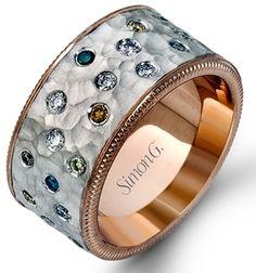 Simon G. multicolor flush diamond ring