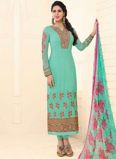 Turquoise Embroidery Work Georgette Viscose Designer Print Fancy Churidar Suit http://www.angelnx.com/Salwar-Kameez/Churidar-Suits