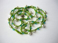 Eco necklace/lariat/wrap/bracelet  green cotton by SunnyGarden