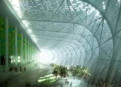 Great Stadium of Casablanca, Morocco - the project features massive fanned-out concrete fibre blades around its perimeter, filtering natural light and promoting cross ventilation throughout the interior. With a capacity to hold up to 80,000 spectators, the projected completion date is set for 2013.