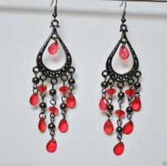 Fashion Earrings Pierced Tear Drop Chandelier Red Faux Gems Hook Dangle New