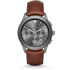 Michael Kors Gareth Gunmetal-Tone Stainless Steel & Leather... (542.065 COP) ❤ liked on Polyvore featuring jewelry, watches, apparel & accessories, fine jewellery, chronograph watches, bezel watches, chronos watch and stainless steel jewelry