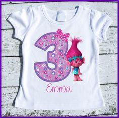 Poppy Trolls Birthday Tee Shirt. Custom personalized with name and age. Trolls birthday. Trolls birthday party tee shirt.