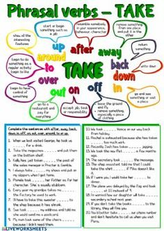 Phrasal verbs - Take Language: English Level/group: Pre-intermediate School subject: English as a Second Language (ESL) Main content: Phrasal verbs Other contents: take English Grammar Worksheets, Verb Worksheets, Grammar Lessons, English Vocabulary, Number Worksheets, Alphabet Worksheets, Learn English Words, English Phrases, English Lessons