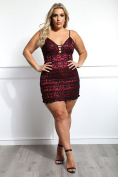 Jolly Jade Plus Size Crocheted Mini Dress
