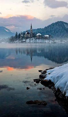 Winter scene.. Lake Bled, Slovenia | by Aleš Komovec on 500px