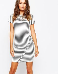 New Look | New Look Stripe Wrap Body-Conscious Dress at ASOS