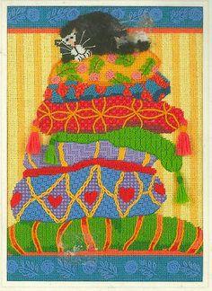 "RARE 2004 Sunset Cat ""Percy on Pillows"" Needlepoint Kit SEALED | eBay"