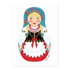 女の子のMatryoshkaのポーランドの郵便はがき ポストカード