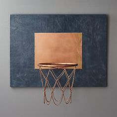 Leather and Copper Decorative Basketball Hoop | CB2