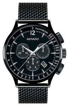 Movado 'Circa' Chronograph Mesh Strap Watch, 42mm available at #Nordstrom