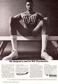 1965 ad for BOAC featuring basketball legend Wilt Chamberlain