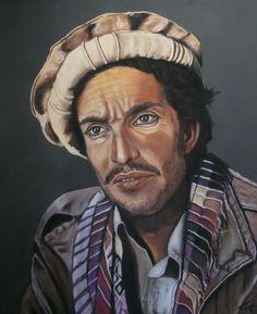MASSOUD, l'afghan, d'après une photo célèbre de REZA.  Ahmed Shah Massoud, le Lion du Panjshir, a été pendant vingt ans le symbole de la résistance afghane. http://www.artmajeur.com/catherinewernette/