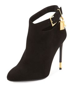 Suede Ankle-Lock Bootie, Black by TOM FORD at Neiman Marcus.