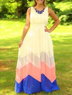 Color-block Scoop Neck Color-block Chiffon Dress
