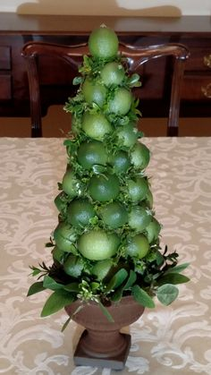 Lime Fruit Topiary Centerpiece (Sugared Fruit or Plain Fruit), Lime Berry Cone Country Christmas Decorations, Christmas Tablescapes, Christmas Centerpieces, Holiday Tables, Holiday Decorating, Christmas Wreaths, Wedding Decorations, Wedding Ideas, Lemon Centerpieces