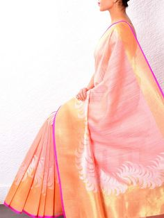 Peach Raw Silk Saree