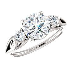 1.50 Carat Forever One Moissanite & Diamond Three Stone Ring, Moissanite Engagement Rings for Women 14k, 18k or Platinum, Moissanite Bridal Jewelry, Wedding Gifts, Anniversary Rings