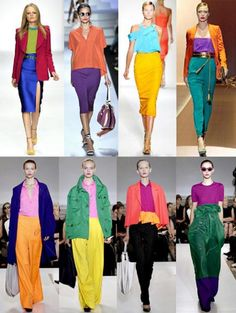 I have always loved colour blocking. I don't believe it is a trend… just a matter of making beautiful mixtures of colour! Colour Blocking Fashion, Color Blocking Outfits, Fashion Colours, Colorful Fashion, Look Fashion, Fashion Outfits, Fashion Trends, Mode Collage, Color Combinations For Clothes