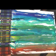 Crayon art, 'Abstract Beach'