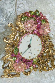 A Vintage Antique  Bejeweled Matson Alarm Clock Pink & Green By Debbie Del Rosario-clock, jewels, crown, green, cottage, romantic, mirror, Juliana, Weiss, Eisenberg, Lisner, Pink