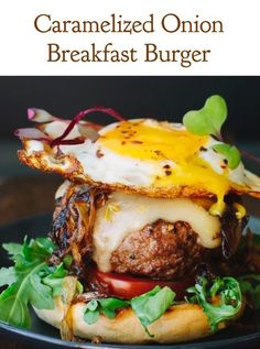 Caramelized Onion Breakfast Burger with smoky layers of flavors and pepper jack cheese (the Ultimate Burger) | CiaoFlorentina.com @CiaoFlorentina