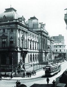 Strada Lipscani în dreptul Băncii Naționale a României, 1924.