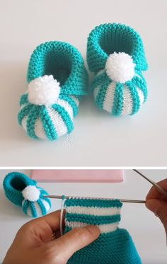 Amazing Knitting: Easy To Make Baby Booties With Pom Pom - Tutorial - Diy Crafts - moonfer Baby Booties Knitting Pattern, Baby Boy Knitting, Loom Knitting Patterns, Booties Crochet, Crochet Baby Shoes, Crochet Baby Booties, Knitting For Kids, Easy Knitting, Crochet Patterns