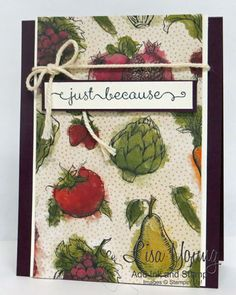 Stampin' Up! card made with Farmer's Market designer paper. Fruit and Vegetable card. Handmade by Lisa Young, Add Ink and Stamp