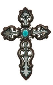 M&F Brown & Turquoise Mirror Wall Cross