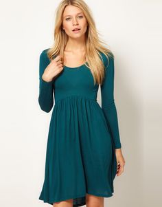 Asos Collection Asos Mini Babydoll Dress with Long Sleeves in Green  96414c937