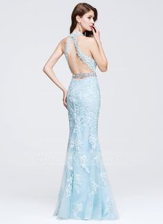 Trumpet/Mermaid V-neck Floor-Length Beading Appliques Lace Zipper Up Regular Straps Sleeveless No Other Colors Spring Summer Fall General Plus Tulle Prom Dress