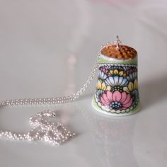 Recycled Porcelain Thimble Necklace - Pink Blue and Yellow Lotus