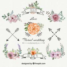 Decorações florais do casamento set Vetor grátis