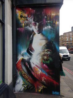 Beautiful geisha mural in London by street Artist Dan Kitchener