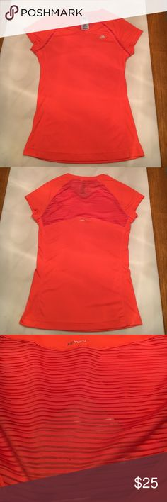 Adidas light orange shirt mesh/burnout type stripes on back (3rd picture) adidas Tops Tees - Short Sleeve