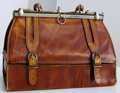 French Vintage Leather Bag Vintage Doctor's Bag by taffetablue